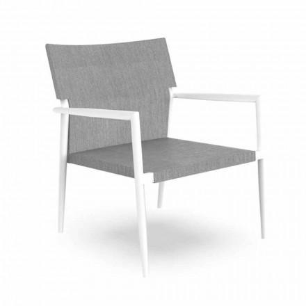 Sillón de jardín moderno en aluminio y textil gris - Adam by Talenti