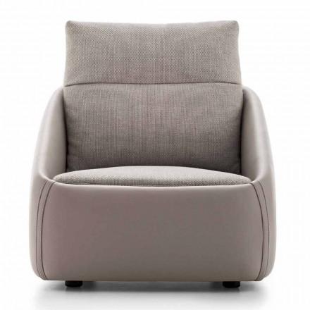 Sillón de salón en cuero y tela de alta calidad Made in Italy - Amarena