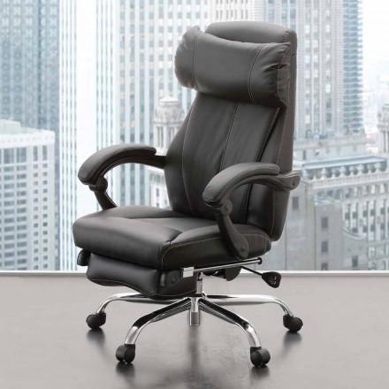 Sillón de oficina giratorio y reclinable en cuero ecológico negro - Nazzareno