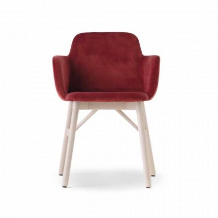 Sillón de alta calidad con asiento de terciopelo o tela Made in Italy - Molde