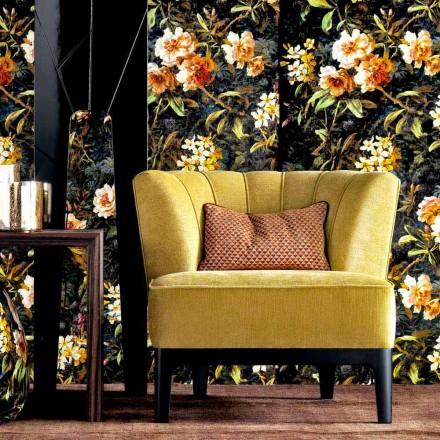 Sillón de diseño en tejido acolchado Grilli Kipling hecho en Italia