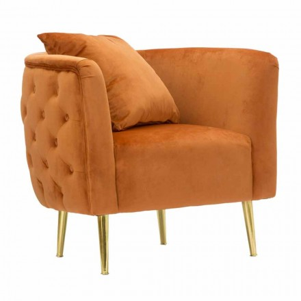 Sillón de diseño moderno en terciopelo, madera y hierro - Ruthie