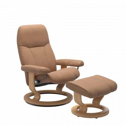 Sillón reclinable de cuero relajante con otomana - Cónsul Stressless