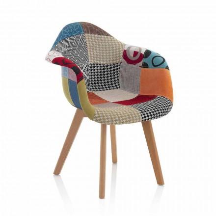 Sillón de diseño patchwork en tela con patas de madera, 2 piezas - Selena