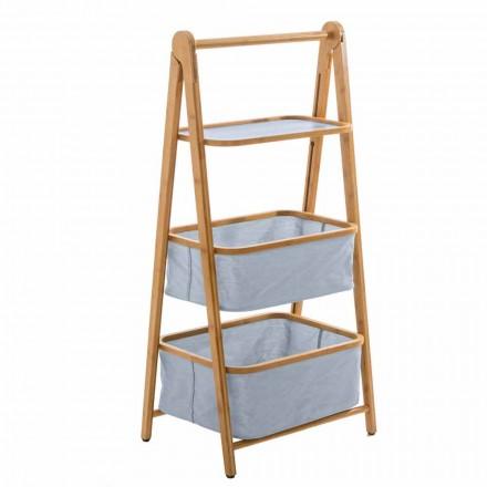 Accesorios de baño de diseño en tejido vercelli y bambú.
