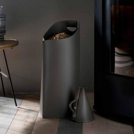 Porta pellet cucharada desde el interior de diseño de cuero negro Sapir