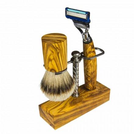 Porta navajas y brocha de afeitar, producto artesanal Made in Italy - Diplo
