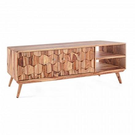 Mueble de TV de madera de diseño vintage con pomos de acero Homemotion - Ventador