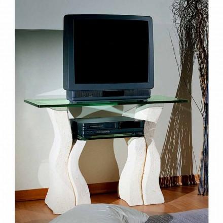 Porta TV hecho a mano con piedra de Vicenza y cristal Khloe