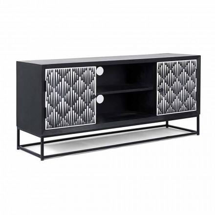 Mueble de TV moderno en madera de mango con Homemotion - Mano de obra Psycho Mosaic