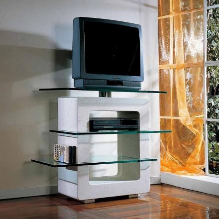 Porta TV hecho a mano con piedra de Vicenza y cristal Agnes