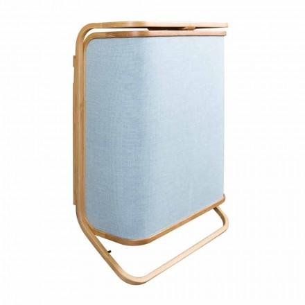 Moderno cesto para la ropa de pared en valenza, tejido azul marino y bambú.