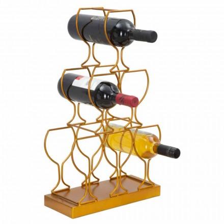 Soporte para botellas de piso o mesa 6 botellas de hierro, diseño moderno - Brody