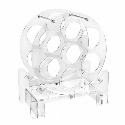 Portabotellas de mesa de diseño en plexiglás transparente o con madera - Vinello