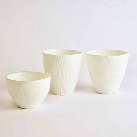 Portavelas de diseño en porcelana blanca decorada 3 piezas - Arcireale