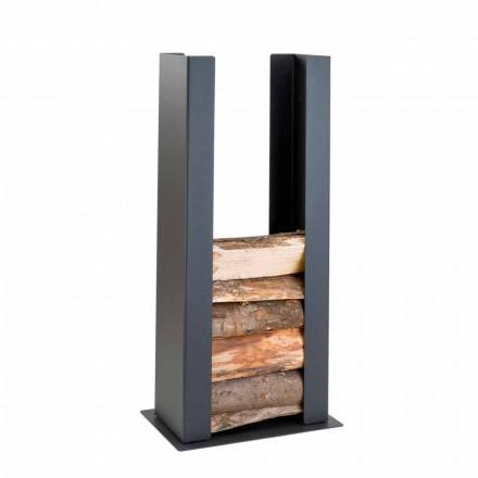 Soporte de madera para suelo / pared en acero negro con columna de diseño moderno - Grecale
