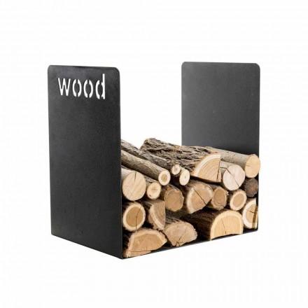 Soporte de madera moderno en diseño minimalista de acero negro con grabado - Altano