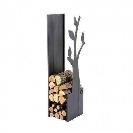 Porta leña de acero para interiores de diseño moderno PLV A