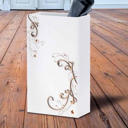 Paragüero elegante y moderno en madera oscura o blanca con decoraciones - Poesía