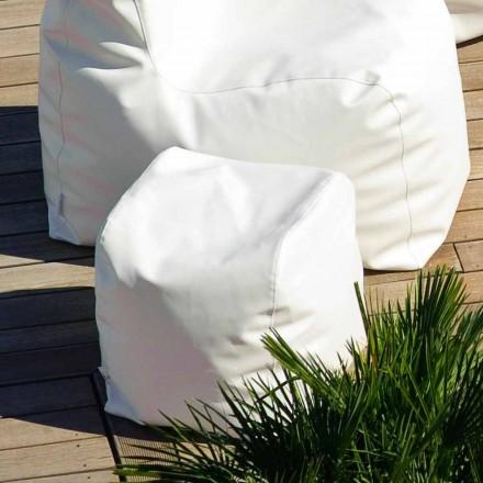 Puf de diseño Cloud Trona en ecopiel náutico blanco fabricado en Italia