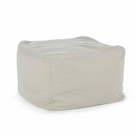 Puf de exterior cuadrado cubierto de tela repelente al agua, Homemotion - Lydia