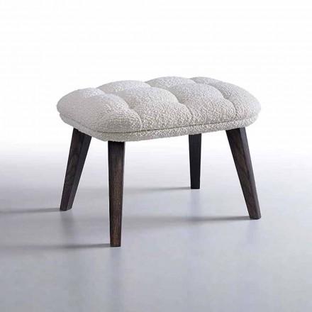 Puf de diseño tapizado en tela con base de madera Made in Italy - Clera