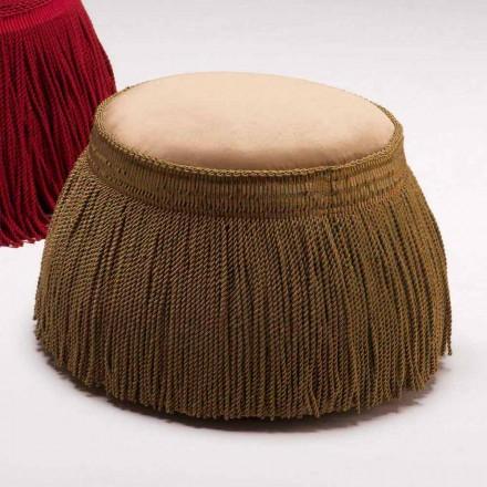 Puf tapizado para salón de diseño de lujo clásico, 60cm de diámetro, Simon