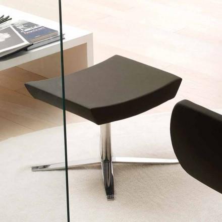 Puf moderno de oficina en eco-cuero y aluminio - Clio