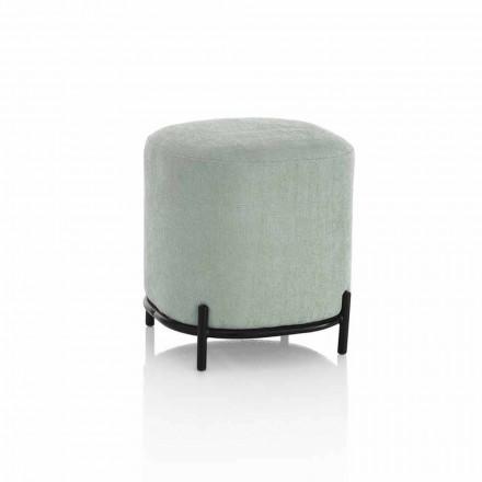 Puf redondo para salón en tela verde o gris de diseño moderno - Ambrogia