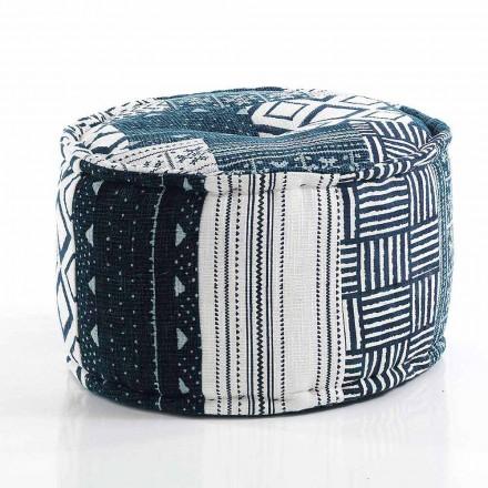 Puf redondo de diseño étnico en tela patchwork o terciopelo - fibra
