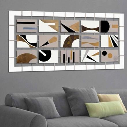 pintura abstracta con quince paneles suspendido sobre cuerdas Craig