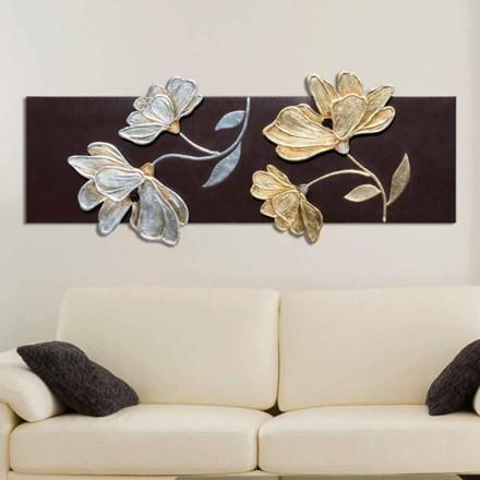 Marco con flores decorados a mano con pan de oro y plata Herman