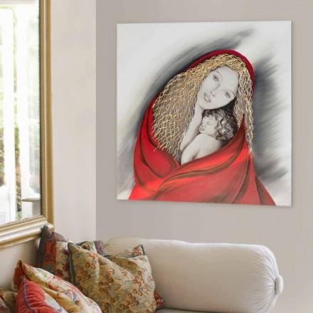 Cuadro moderno dei diseño Madonna pintado a mano de Viadurini Decor.
