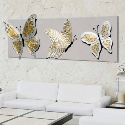 La pintura moderna con tres mariposas en relieve decorado a mano Stephen