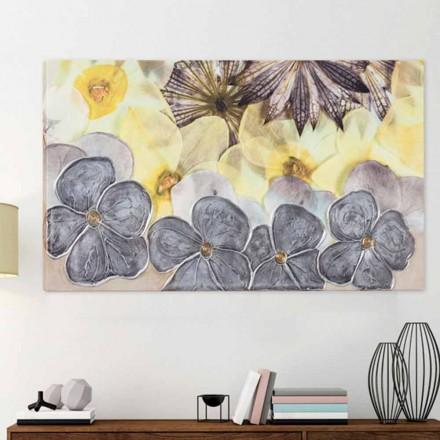 pintura floral con pétalos de textura moderna decoración manual de Ramos