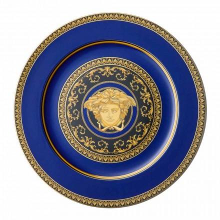 Rosenthal Versace Medusa azul plato de porcelana diseño de marcador de posición