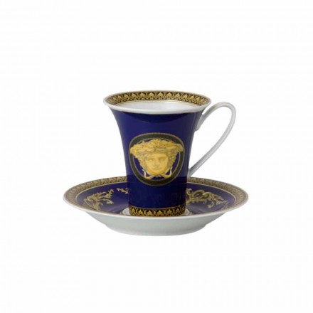 Rosenthal Versace Medusa taza azul de alta porcelana Diseño del café