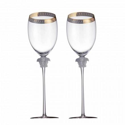 Rosenthal Versace Medusa D'Or 4 tazas de agua en el diseño cristalino
