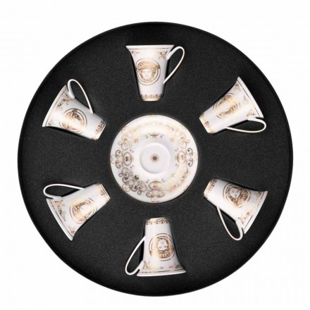 Rosenthal Versace Medusa Gala de oro tazas de café expreso conjunto 6pz porcelana