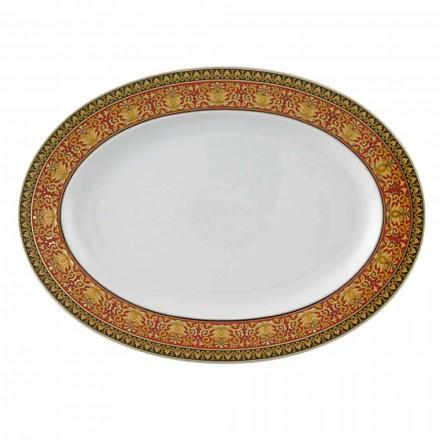 Rosenthal Versace Medusa Rojo diseño oval plato de porcelana