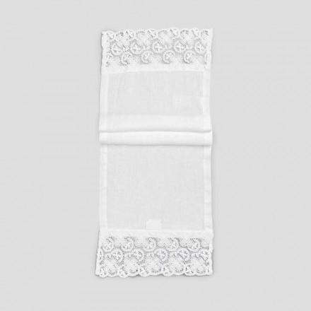 2 Camino de mesa 100% lino con encaje blanco de lujo Made in Italy - Trionfo