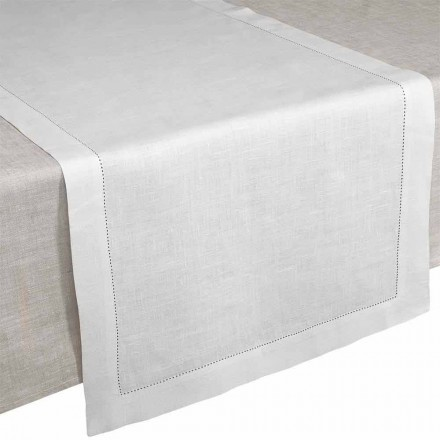 Camino de mesa en lino blanco crema puro hecho en Italia - Chiana