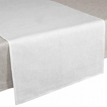 Camino de mesa 50x150 cm en lino puro blanco crema Made in Italy - Blessy