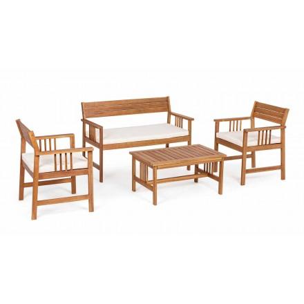 Lounge 4 Complementos en diseño de madera de jardín en madera de acacia- Roxen