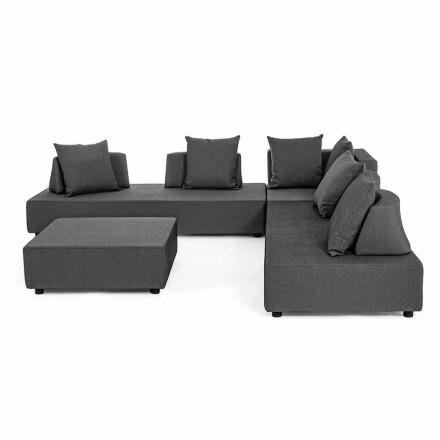 Lounge de esquina de diseño moderno al aire libre en tela Homemotion - Benito