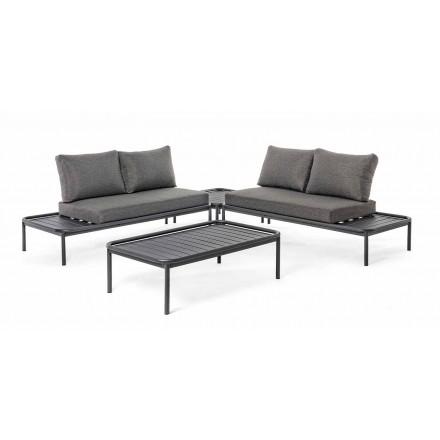Moderno salón al aire libre en aluminio y antracita Homemotion - Palmira