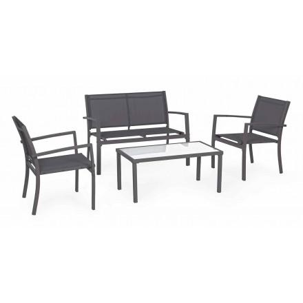 Salón de jardín en acero y textil, sofá, sillones y mesa de centro - Osseo