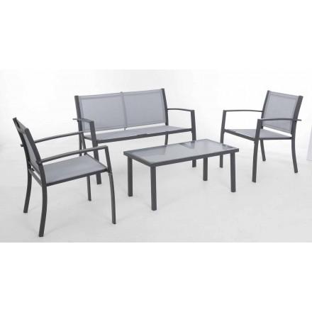 Salón de jardín en acero blanco o gris y diseño Textilene - Skeleton