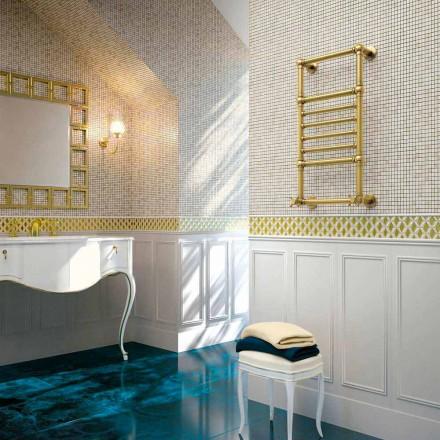 Calentador de toallas hidráulico Scirocco H Amira en latón dorado hecho en Italia