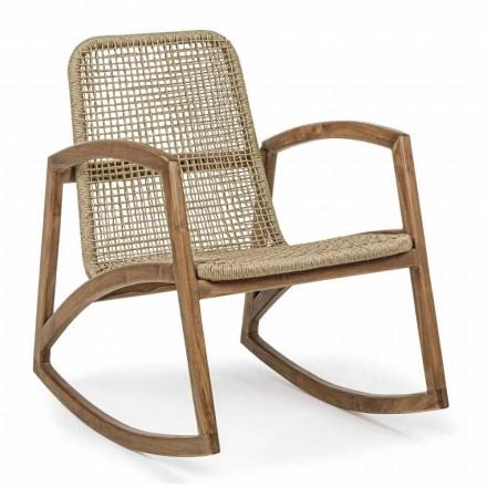 Mecedora para exterior en madera de teca y tejido de fibra sintética - Tosca